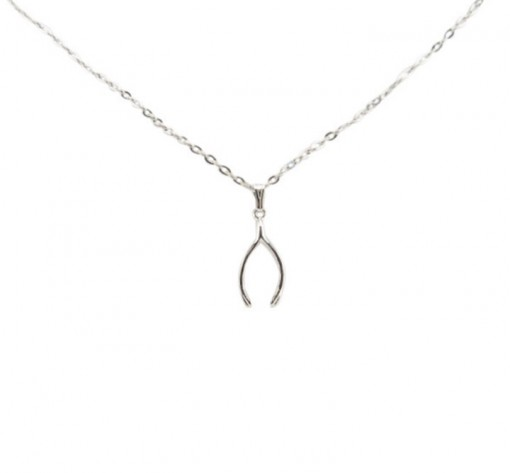 Silver Wishbone Drop Necklace, Made in USA
