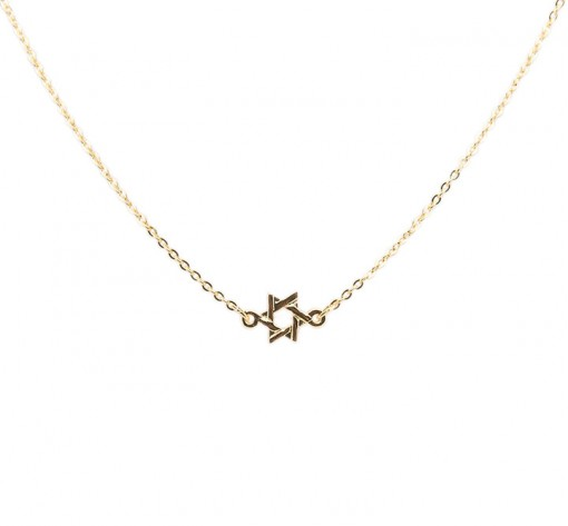 Gold star of david necklace, made in USA