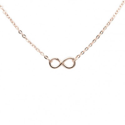 Rose gold infinity necklace, made in USA