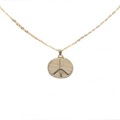 Gold Peace Necklace, made in USA