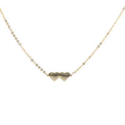 Gold double heart necklace, made in USA