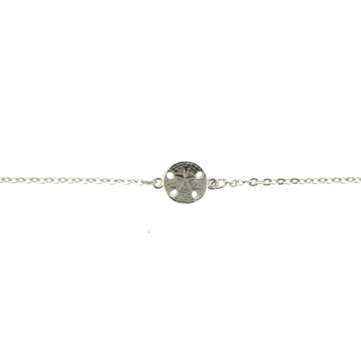 silver sand dollar ankle bracelet
