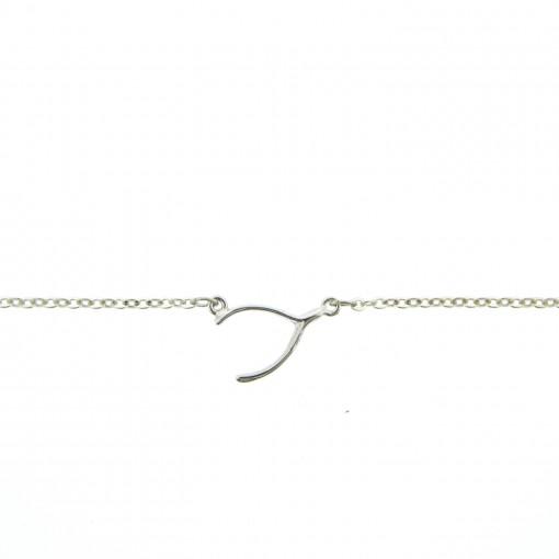 rhodium wishbone anklet