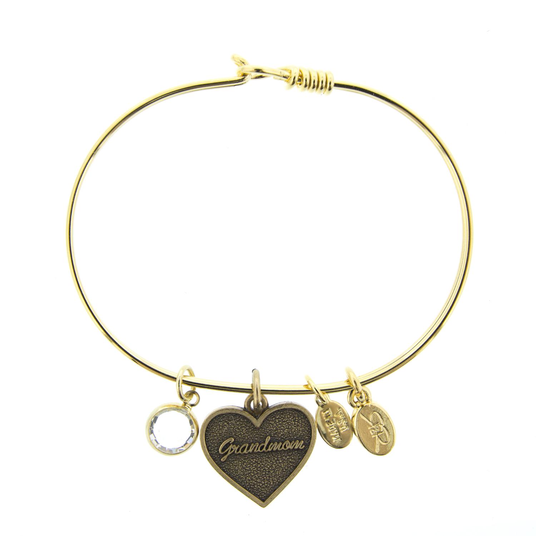 Swarovski Charm Bracelet: Gold Grandmom Bracelet With Swarovski Crystal