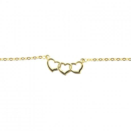 gold triple heart ankle bracelet