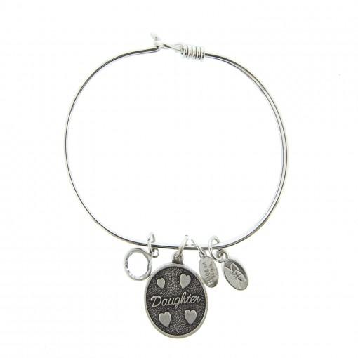 silver daughter bracelet with swarovski crystal