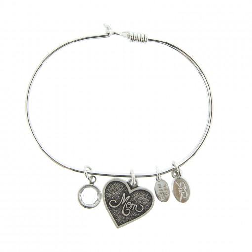 silver mom bracelet with swarovski crystal