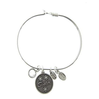 silver sister charm bracelet