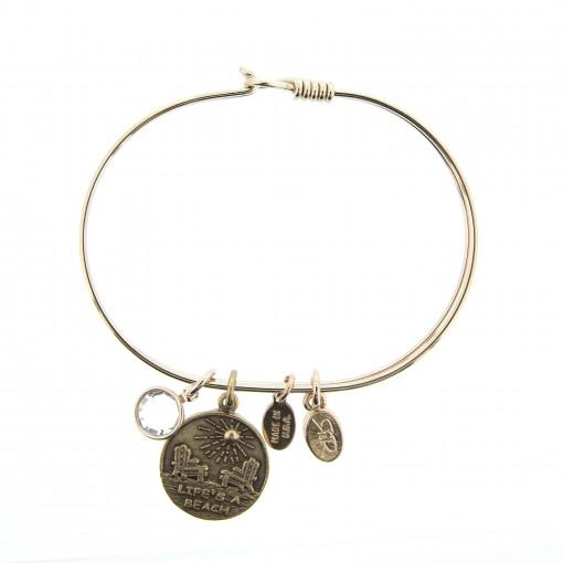 gold life's a beach saying bracelet