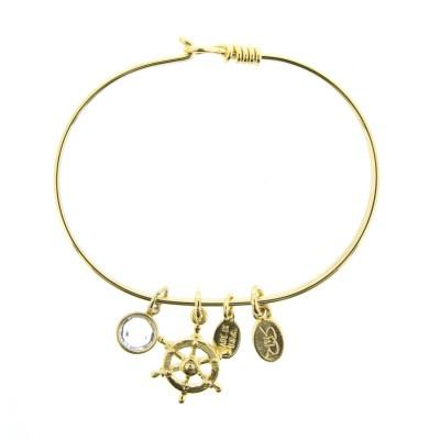 gold ships wheel charm bracelet