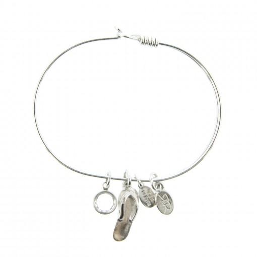 silver flip flop beach bracelet