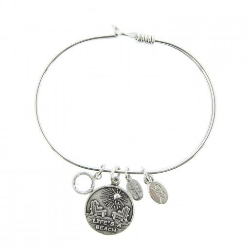 silver life's a beach charm bracelet