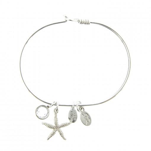 silver starfish beach bracelet